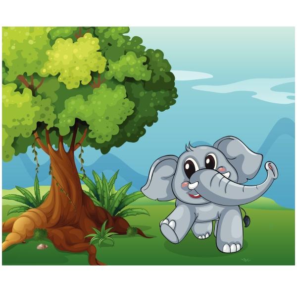 an elephant beside the tree