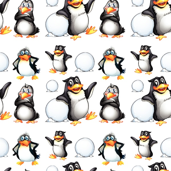 seamless penguins and snow balls