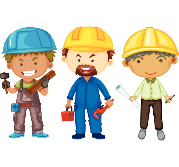 three men with different jobs