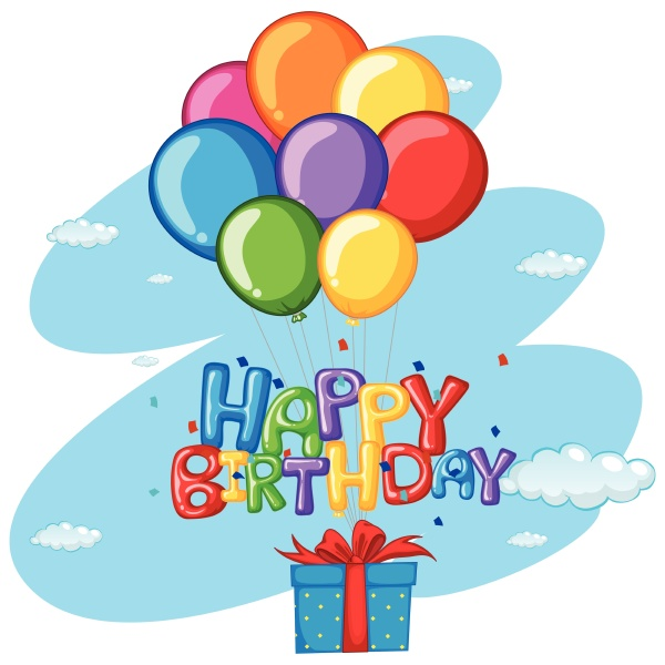 happy birthday theme with present and