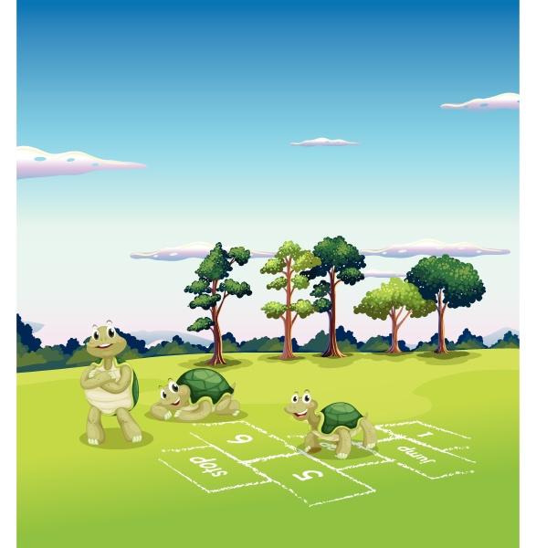 tree turtles playing