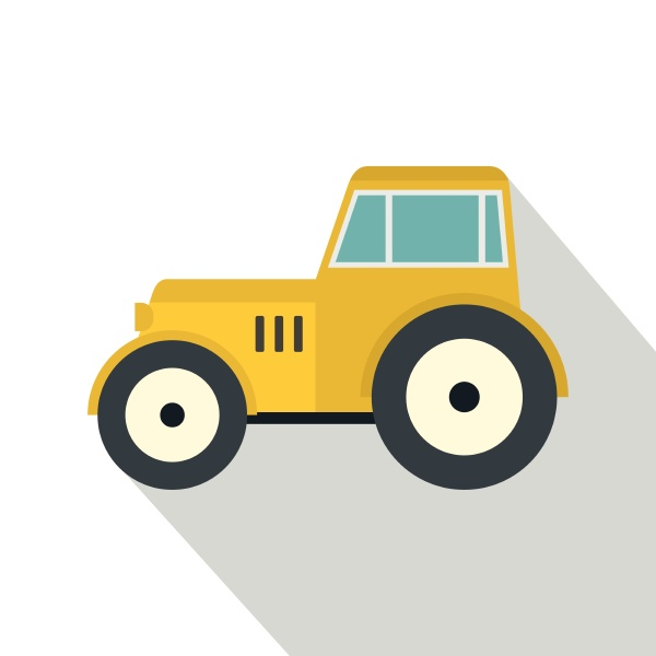 yellow tractor icon flat style