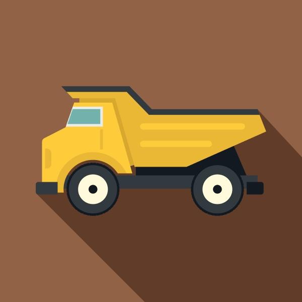 yellow dump truck icon flat style
