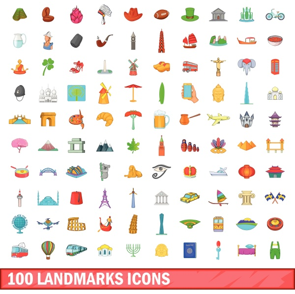 100 landmarks icons set cartoon