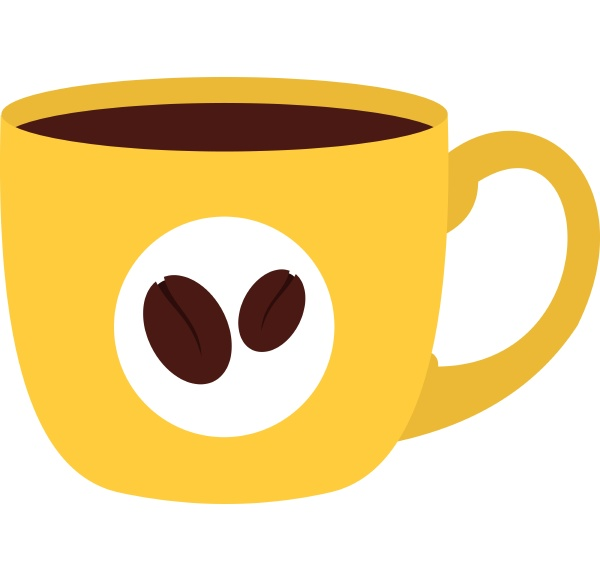 yellow cup of coffee icon isolated