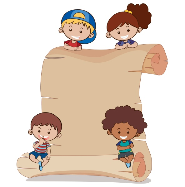 paper background with four kids