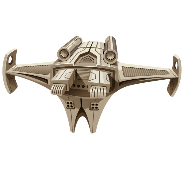 modern spaceship with wings