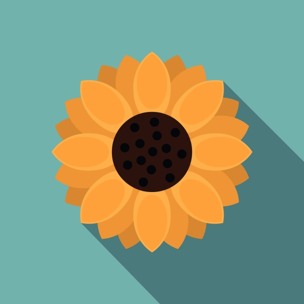 orange gerbera flower icon flat