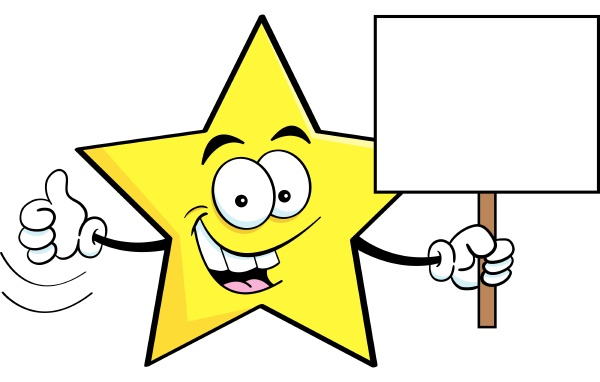 cartoon illustration of a star holding