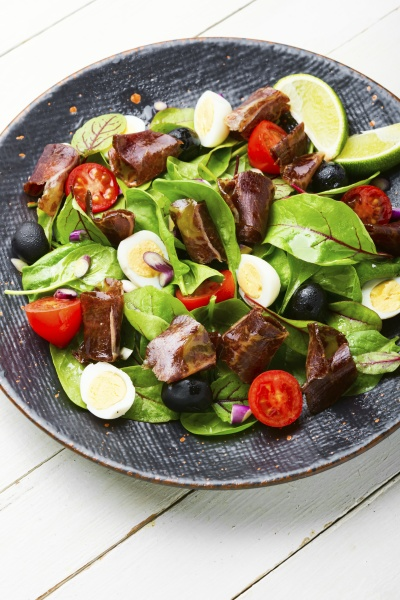 spring salad with herbs and jerky