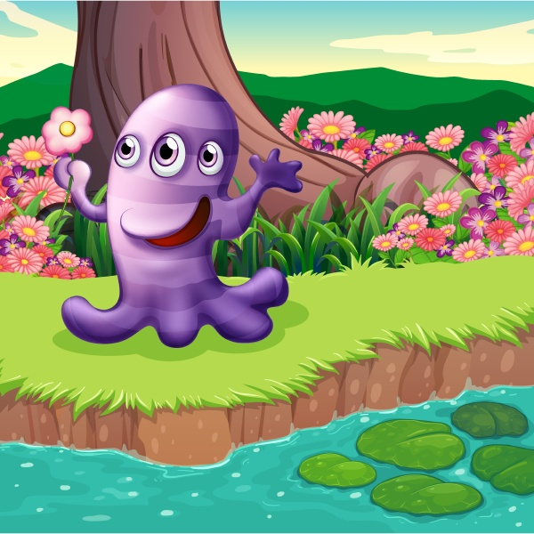 a three eyed violet monster at