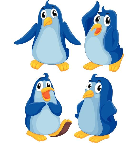 four blue penguins