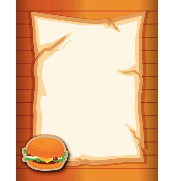 a stationery with a hamburger