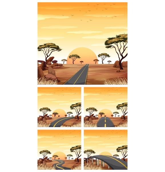 five scenes with roads in savanna