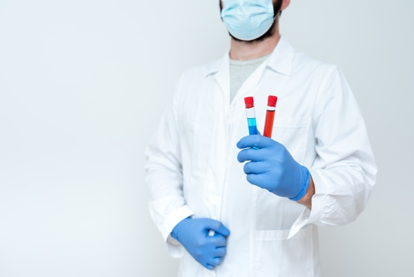 research scientist comparing different samples doctor