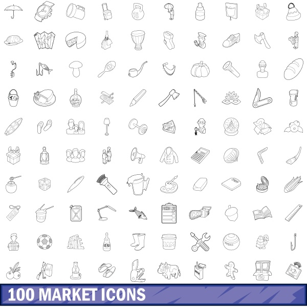 100 market icons set outline style