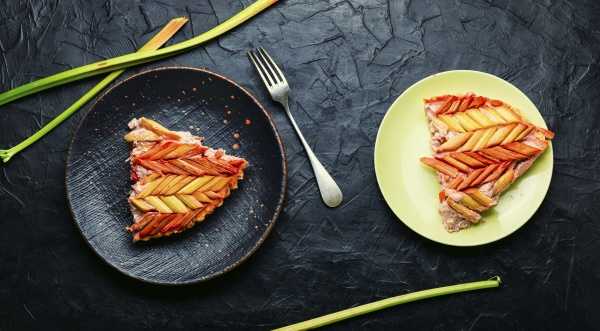 traditional rhubarb pie top view