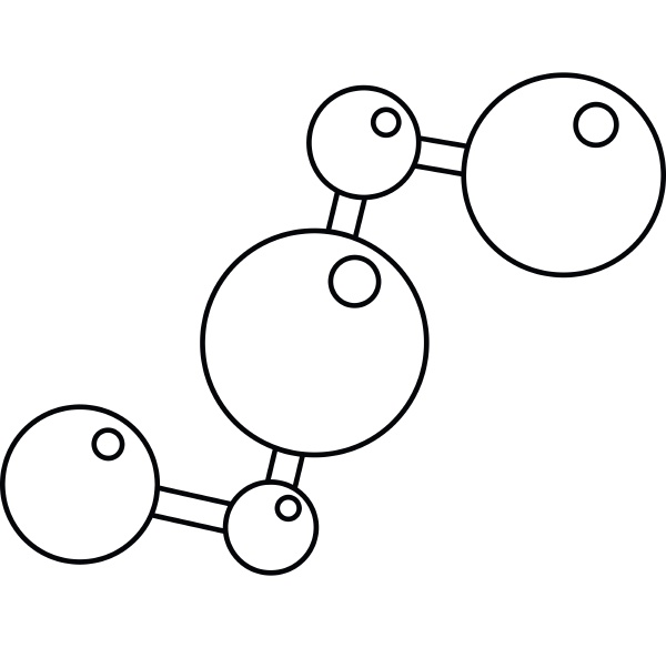 chemical and physical molecules icon outline