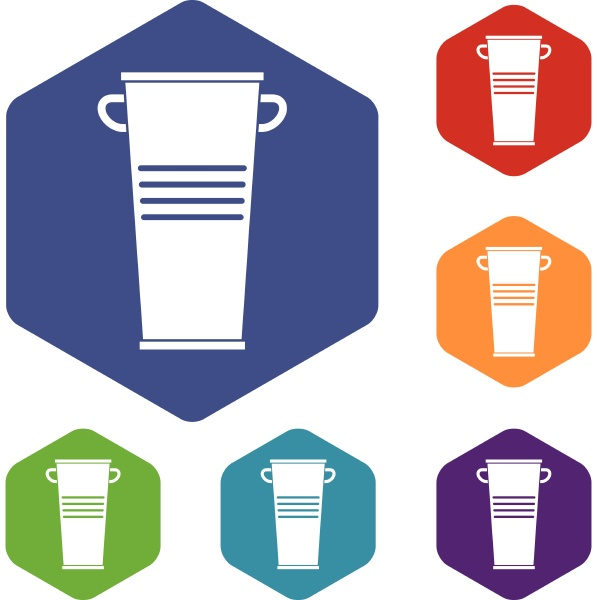 trash can with handles icons set