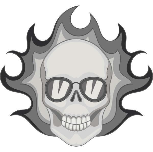 flaming skull icon monochrome