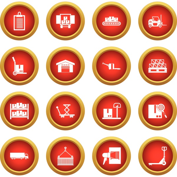 logistic icon red circle set