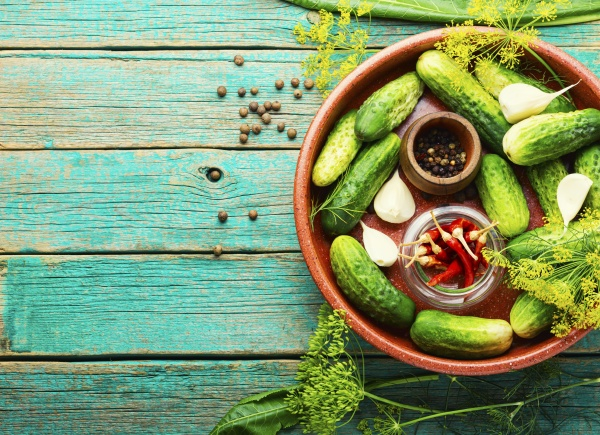 homemade cucumber pickling and ingredients