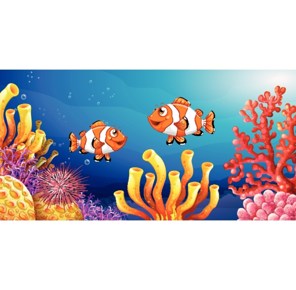 underwater scene with clownfish and sea