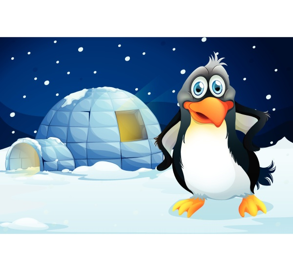 a penguin standing near the igloo