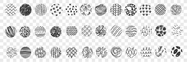 various patterns balls doodle set