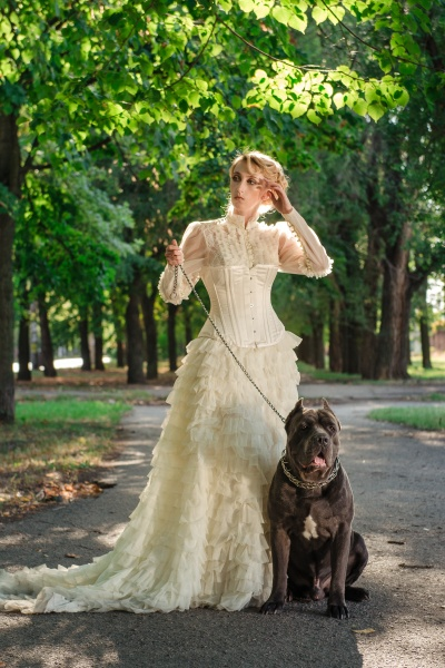 girl in an old dress with