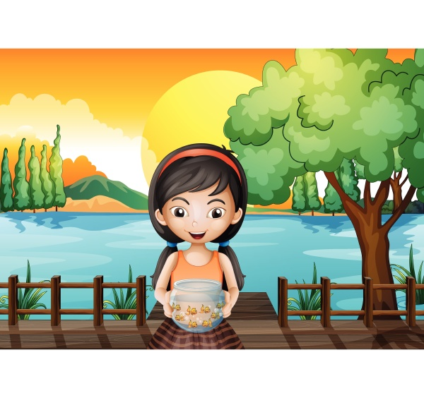 a girl at the bridge holding