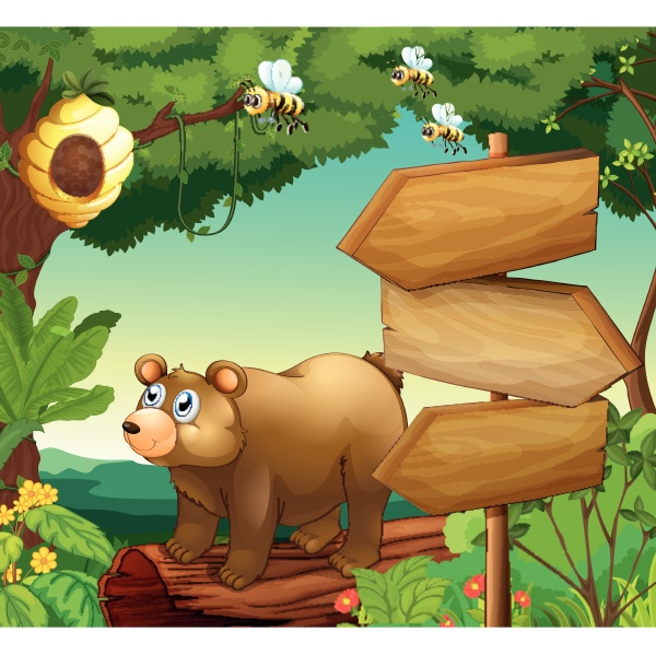 scene with bear and wooden signs