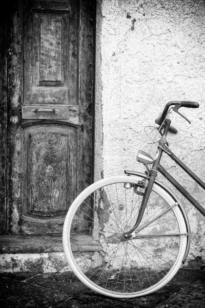 old doors and vintage bike