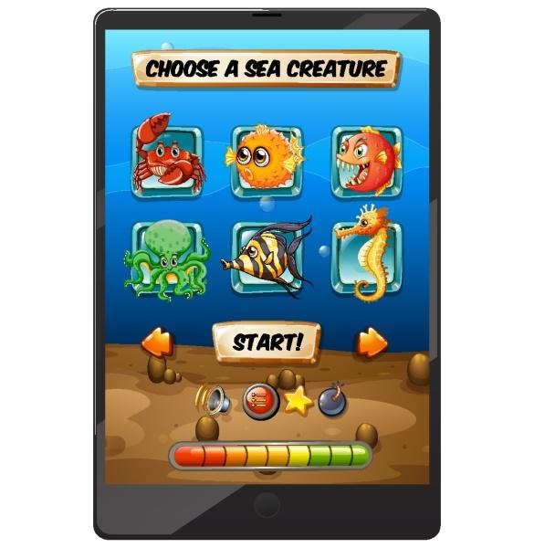 undersea game display on tablet screen