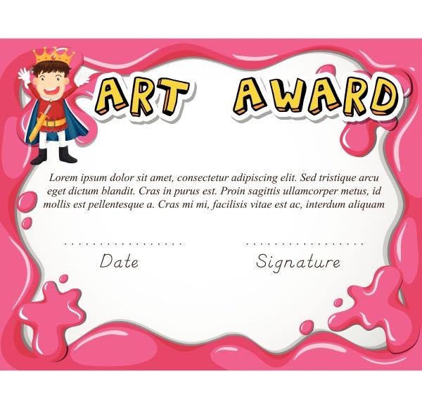 art award certificate with boy as