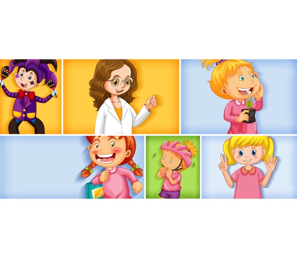 set of different kid characters on