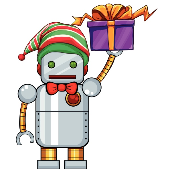 robot holding christmas present