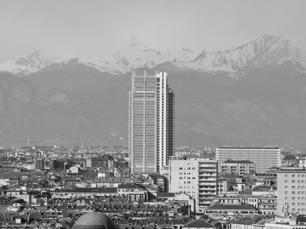 aerial view of turin in black