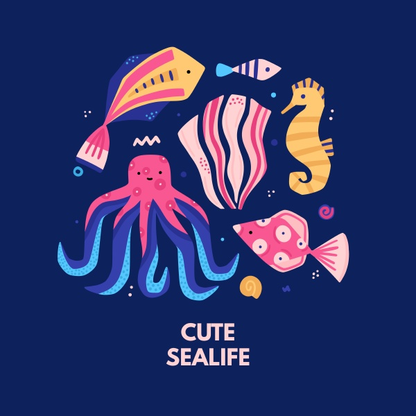 vector funny underwater world colorful