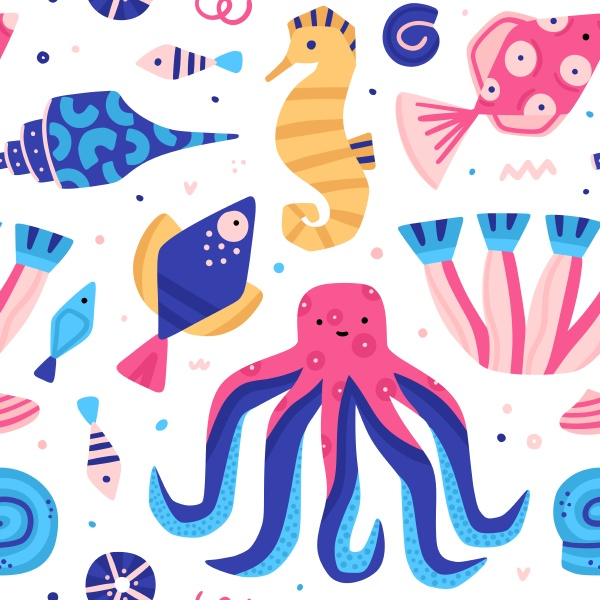 vector seamless pattern with colorful underwater