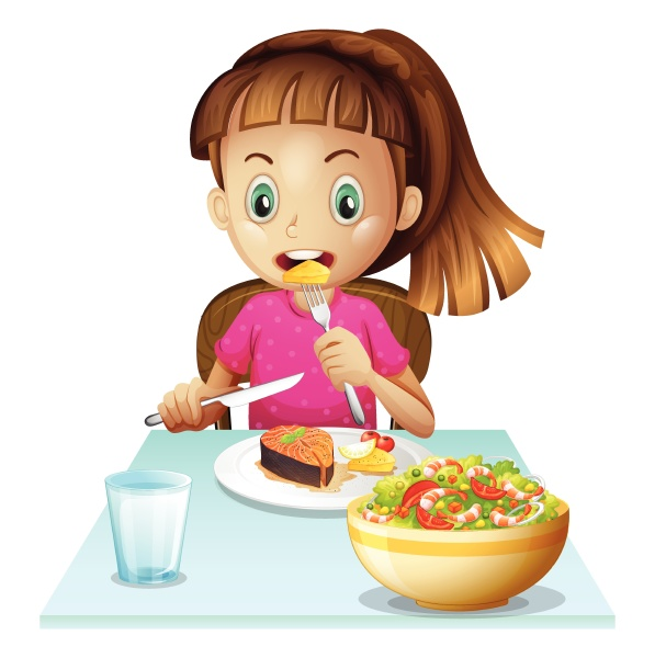 a little girl eating lunch
