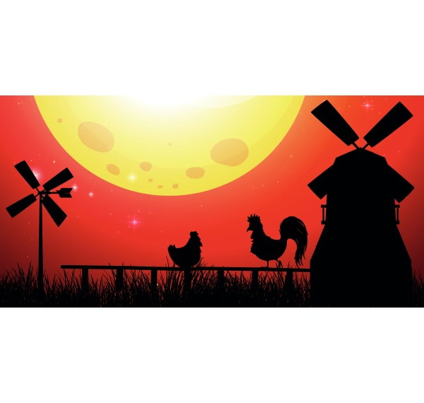 silhouette scene with chickens on the