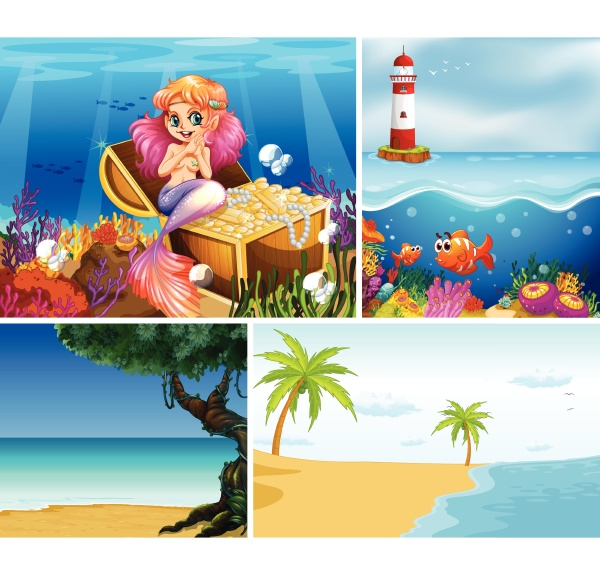 set of different beach and undersea