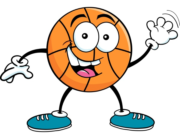 cartoon illustration of a basketball waving