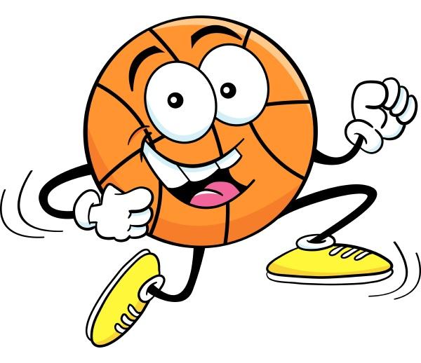 cartoon illustration of a basketball running