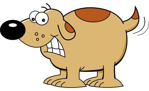 cartoon illustration of a dog wagging