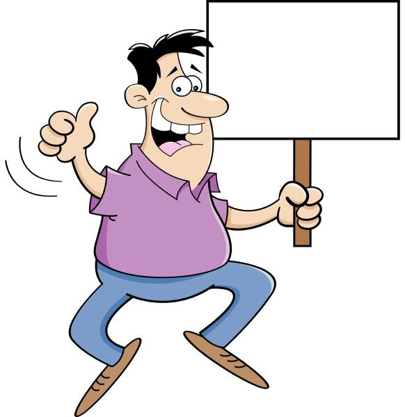 cartoon illustration of a man jumping
