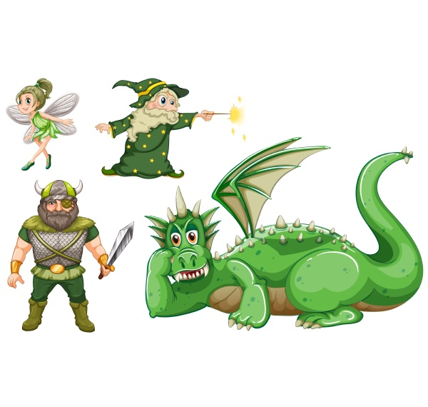 fairy tale characters in green