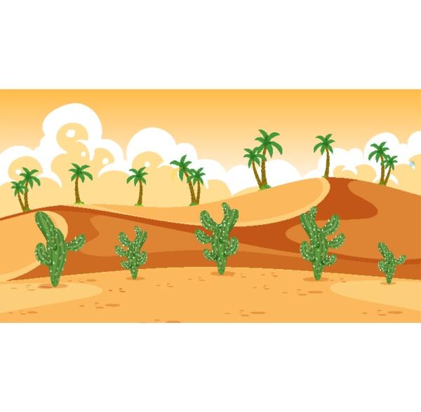 background scene with cactus in desert