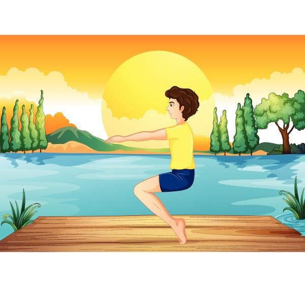 a boy exercising near the deep